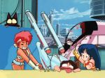 1boy 2girls 80s chibi city clouds crossover dark_skin dirty_pair dokite_tsukasa kei_(dirty_pair) long_hair mughi multiple_girls oldschool open_mouth outdoors parody science_fiction short_hair space_craft star_trek uss_enterprise yuri_(dirty_pair)