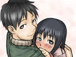 00s 1boy 1girl black_hair blush couple genshiken green_eyes hair_down hetero hug ogiue_chika otaku sasahara_kanji shy