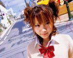 asian bangs blurry bow bowtie brown_eyes brown_hair city clouds depth_of_field dutch_angle eyelashes eyeliner jewelry lipstick looking_at_viewer makeup morning_musume necklace outdoors parted_bangs photo power_lines road school_uniform serafuku short_twintails sky smile solo street tanaka_reina telephone_pole twintails upper_body wallpaper