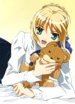blouse duplicate fate/stay_night fate_(series) highres lion saber stuffed_animal stuffed_lion stuffed_toy