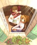1boy 1girl blonde_hair blouse book chair cup from_above green_eyes light_rays looking_at_viewer looking_up open_window red_eyes saucer short_ponytail sitting skirt smile sunbeam sunlight table tea teacup ueda_ryou window