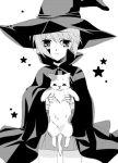 1girl animal cape cat hair_between_eyes hat hinase_saharu holding looking_at_viewer nagato_yuki shamisen_(suzumiya_haruhi) short_hair simple_background solo suzumiya_haruhi_no_yuuutsu upper_body white_background witch witch_hat
