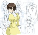 1girl cowboy_shot dress expressionless formal from_behind fujioka_haruhi long_sleeves looking_at_viewer looking_back ouran_high_school_host_club partially_colored psyt2 short_hair sketch solo suit unfinished yellow_dress