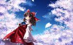 1girl female hakurei_reimu highres nature outdoors phantasmagoria_of_flower_view plant sky solo touhou wallpaper widescreen yuuki_tatsuya