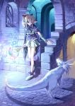 1girl blonde_hair cape dated dungeon elf familiar magic pointy_ears staff stairs statue ueda_ryou violet_eyes witch