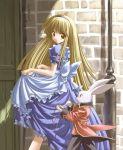 1girl alice_(wonderland) alice_in_wonderland annoyed blonde_hair brown_eyes city gothic maid pocket_watch rabbit solo ueda_ryou walking watch white_rabbit