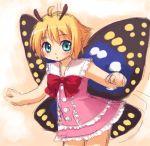 1boy 1girl antennae aqua_eyes blonde_hair butterfly clenched_hands crossdressing dress fairy inou_shin pink_dress shimon shimotsuma solo trap wings