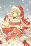 00s :o artbook bell belt boots brown_eyes capelet chii chobits choker christmas clamp confetti fur_trim gloves hat highres holly long_hair looking_at_viewer pom_pom_(clothes) red_boots red_gloves red_legwear ribbon robot_ears santa_boots santa_costume santa_hat scan snow snowing thigh-highs very_long_hair yellow_eyes