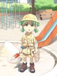 1girl azuma_kiyohiko bench child koiwai_yotsuba lowres map outdoors playground quad_tails sandbox shorts slide solo yotsubato!