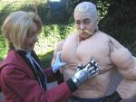 2boys alex_louis_armstrong cosplay edward_elric fullmetal_alchemist male_focus multiple_boys muscle photo what