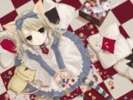1girl alice_(wonderland) alice_in_wonderland animal_ears aqua_eyes blonde_hair candy cat_ears cat_tail checkered cheshire_cat cookie dress food from_above jelly_bean juliet_sleeves lollipop long_hair long_sleeves looking_at_viewer pillow puffy_sleeves striped striped_legwear stuffed_toy sweets tail white_rabbit