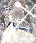 1girl architecture bangs church cross dress gothic_architecture grey_eyes kotobuki_raimu light mitre priest priest_(ragnarok_online) ragnarok_online silver_hair solo staff