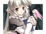 00s 1girl :d book chii chobits hair_tubes holding lolita_fashion long_hair long_sleeves looking_at_viewer maid open_mouth puffy_long_sleeves puffy_sleeves red_eyes robot_ears silver_hair sleeves_past_wrists smile solo stuffed_toy upper_body wallpaper white_hair