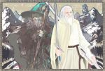 2boys beard belt dual_persona facial_hair fantasy gandalf gandalf_the_grey gandalf_the_white grey_hair hat john_ronald_reuel_tolkien landscape lord_of_the_rings male_focus medieval middle_earth mountain multiple_boys old_man robe staff sword the_return_of_the_king weapon white_hair wizard wizard_(istari) wizard_hat