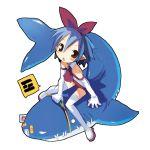 1girl :c harada_takehito looking_up original pleinair pointy_ears rabbit riding same-san shark stuffed_animal stuffed_toy usagi-san