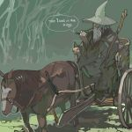 1boy beard cart copyright_name engrish facial_hair fantasy gandalf hat horse john_ronald_reuel_tolkien lord_of_the_rings lowres male_focus medieval middle_earth old_man pipe ranguage reins robe smoke smoking solo staff the_fellowship_of_the_ring wizard wizard_(istari) wizard_hat