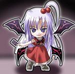 >:) 1girl card chibi dress female goddess kukyo long_hair multiple_wings mystic_square purple_hair shinki solo touhou violet_eyes wings