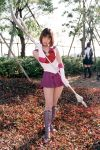 1girl asian bishoujo_senshi_sailor_moon boots bow cosplay knee_boots magical_girl over_shoulder photo polearm purple_boots purple_shoes purple_skirt red_bow sailor_saturn sailor_saturn_(cosplay) shoes short_hair silence_glaive skirt solo tomoe_hotaru weapon weapon_over_shoulder