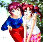 00s 2girls :d ;) blue_eyes blue_shirt collarbone floral_print gundam gundam_seed gundam_seed_destiny hand_gesture hand_on_hip hands_together jewelry leaf looking_at_viewer lunamaria_hawke meyrin_hawke multiple_girls neck_ring necklace one_eye_closed open_mouth pendant piggy_ho_ho pink_skirt red_skirt redhead shirt siblings sisters skirt smile two_side_up v v_arms white_shirt wink