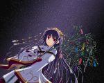 japanese_clothes kurumu makino_nanami miko night night_sky sky suigetsu tanabata tanzaku