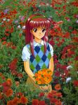 1girl 90s argyle brown_eyes brown_hair field flower flower_field fujisaki_shiori hairband holding kokura_masashi konami looking_at_viewer official_art oldschool photo_background scan shirt short_sleeves smile solo standing sweater_vest tokimeki_memorial tokimeki_memorial_1 white_shirt