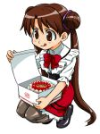 00s 1girl cake food katase_shima pantyhose pastry solo uchuu_no_stellvia waitress