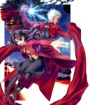 1girl 2boys archer avenger back-to-back between_fingers boots brown_hair cape city coat dark_skin dark_skinned_male fate/hollow_ataraxia fate/stay_night fate_(series) floating_hair foreshortening full_body full_body_tattoo grin hiroyama_hiroshi kalmia light long_hair looking_at_viewer looking_back multiple_boys neck_ribbon outdoors overcoat pantyhose pose ribbon school_uniform shoes short_hair skirt smile tattoo tohsaka_rin twintails two_side_up white_hair