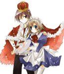 1boy 1girl couple hetero higurashi_no_naku_koro_ni maebara_keiichi ryuuguu_rena suzushiro_kurumi thigh-highs waitress