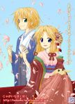 1boy 1girl akeome imu imu_(lom) japanese_clothes jpeg_artifacts kimono legend_of_mana new_year onem pixel_art seiken_densetsu toto toto_(lom)