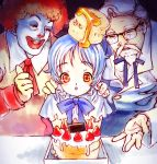 1girl 2boys afro birthday bisuke-tan blue_hair bow bowtie cake colonel_sanders creepy food fruit glasses kfc mcdonald's multiple_boys nekomata_naomi nekomataya object_on_head pastry ronald ronald_mcdonald strawberry string_tie you_gonna_get_raped