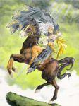 1girl 90s aa_megami-sama cape clouds facial_mark fine_art_parody forehead_mark fujishima_kousuke gloves horse light long_hair parody smile solo urd white_hair