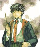 1boy glasses harry_james_potter harry_potter lowres male_focus necktie school_uniform serafuku solo wand