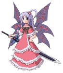1girl female goddess hair_bobbles hair_ornament lowres multiple_wings mystic_square shinki solo sword touhou weapon wings