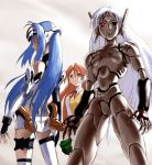 3girls android black_magic_m-66 blue_hair brown_eyes brown_hair crossover kos-mos long_hair m-66 mecha_musume multiple_girls red_eyes serio thigh-highs to_heart white_hair xenosaga xenosaga_episode_i