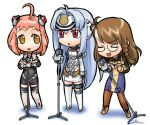 3girls ahoge antenna_hair blue_eyes brown_hair chibi hirai_yukio kos-mos long_hair m.o.m.o. microphone microphone_stand multiple_girls music pantyhose pink_hair red_eyes shion_uzuki short_hair singing thigh-highs xenosaga xenosaga_episode_i yellow_eyes