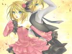 blonde_hair blue_eyes brother_and_sister detached_sleeves flower kagamine_len kagamine_rin short_hair siblings twins vocaloid