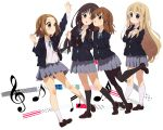 4girls akiyama_mio apple-boy black_eyes black_hair blonde_hair blue_eyes brown_eyes brown_hair hirasawa_yui k-on! kotobuki_tsumugi long_hair multiple_girls musical_note pantyhose school_uniform short_hair tainaka_ritsu