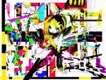 abstract blonde_hair colorful happy kagamine_rin short_hair solo vocaloid
