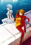 2girls ayanami_rei back-to-back blue_eyes blue_hair bodysuit butt_crack duplicate fish hair_ornament highres long_hair looking_back multiple_girls navel neon_genesis_evangelion ocean orange_hair plugsuit rebuild_of_evangelion red_eyes redjuice shikinami_asuka_langley short_hair sitting skin_tight souryuu_asuka_langley test_plugsuit water wink