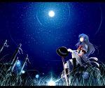 blue_hair boots hat hinanawi_tenshi long_skirt moon nejime night pantyhose sitting solo star stars sword sword_of_hisou touhou weapon
