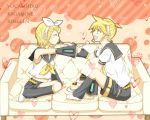 blonde_hair couch eating food kagamine_len kagamine_rin pastry short_hair siblings sweets twins vocaloid