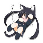 animal_ears black_hair blush cat_ears chibi closed_eyes k-on! kohinata_sora long_hair lowres nakano_azusa nekomimi panties paw_pose school_uniform skirt smile socks solo tail twintails underwear