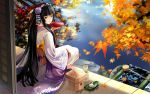 black_eyes black_hair feet_in_water flower highres japanese_clothes kimono leaf lips long_hair looking_back nature original sakazuki sake sitting smile soaking_feet wallpaper water