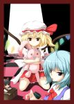 ahoge alice_margatroid black_hair blonde_hair blue_eyes blue_hair border bow box broom broom_riding button_eyes checkered checkered_floor cirno cup donation_box dress flandre_scarlet frills hair_bow hakurei_reimu hat highres kirisame_marisa kirisame_marisa_(cameo) patchouli_knowledge red_eyes ribbon rindou_(faker's_manual) short_hair side_ponytail silhouette stuffed_animal stuffed_toy tongue touhou wings