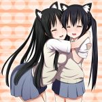 2girls akiyama_mio animal_ears aoinagi asymmetrical_docking black_hair blush breast_press breasts cat_ears cheek_to_cheek closed_eyes highres hug k-on! leaning_forward long_hair multiple_girls nakano_azusa nekomimi school_uniform skirt twintails very_long_hair