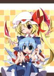 :o ;d blonde_hair blue_eyes blue_hair checkered checkered_background cirno dress flandre_scarlet flower hat ice long_hair multiple_girls open_mouth red_eyes rose short_hair side_ponytail smile tomato_kandume touhou white_rose wings wink