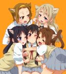 5girls akiyama_mio animal_ears black_hair blonde_hair blue_eyes blush brown_eyes brown_hair cat_ears cat_tail cheek_to_cheek closed_eyes eyebrows fang hairband happy hirasawa_yui hug k-on! kotobuki_tsumugi long_hair multiple_girls nakano_azusa nekomimi red_eyes school_uniform short_hair tail tainaka_ritsu takanashi_ringo wink