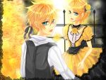 aku_no_musume_(vocaloid) blonde_hair brother_and_sister flower green_eyes kagamine_len kagamine_rin ponytail shizuki_mio short_hair siblings twins vocaloid
