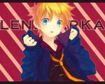 bad_id blonde_hair blue_eyes fang hoodie jacket kagamine_len male necktie open_clothes open_jacket open_mouth parka renta short_hair solo vocaloid