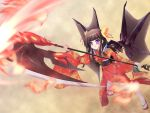black_hair hair_ornament highres japanese_clothes kimono natsumiya_yuzu original purple_eyes sandals solo weapon wings